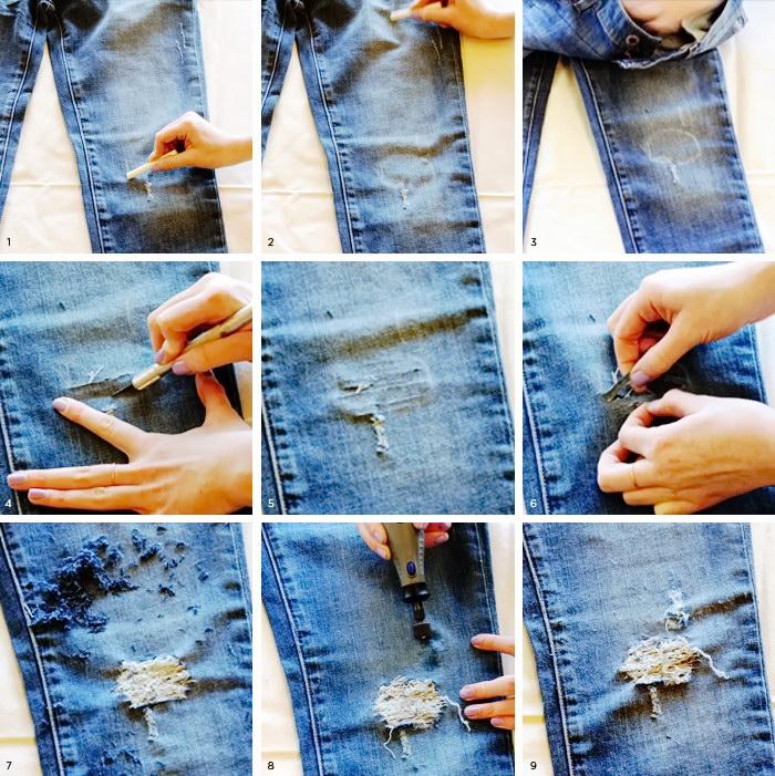 Как правильно сделать потертости на джинсах видео