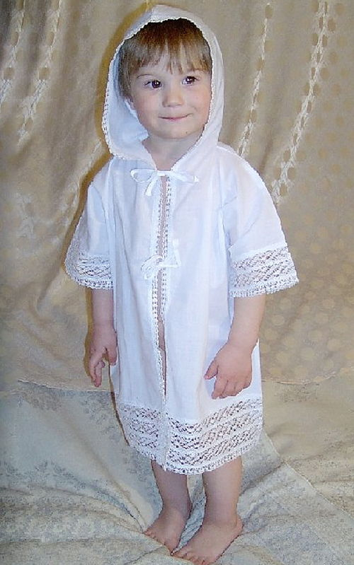 Крестильная рубашка с капюшоном своими руками