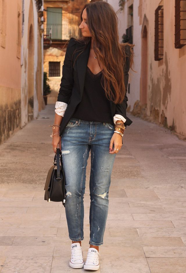 Модные луки с пиджаком