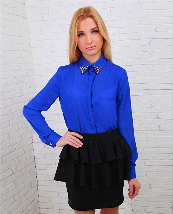 Женские Блузки Синего Цвета