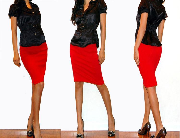 Что одеть под красную юбку карандаш