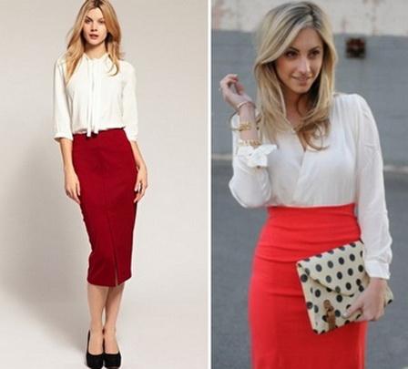 Красная юбка: с чем носить Фото новые фото