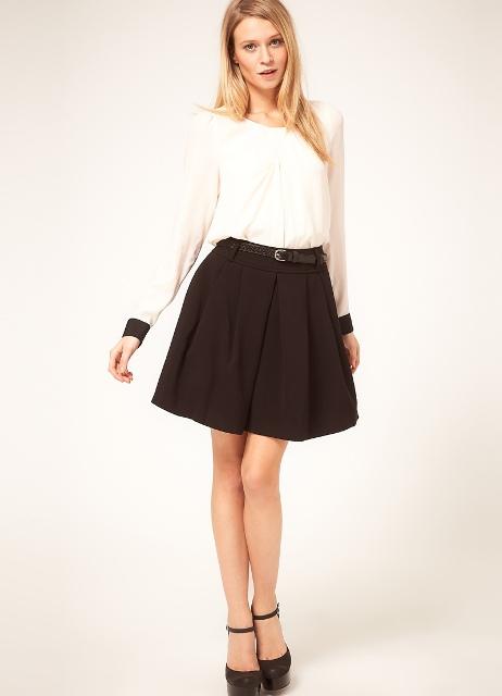 Школьная чёрная юбка с завышенной талией