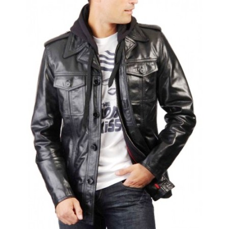 Мужские Кожаные Куртки С Капюшоном