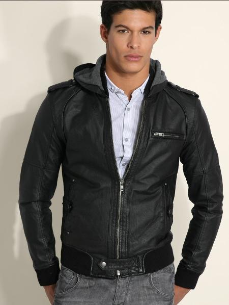 кожаная куртка с капюшоном мужская весна