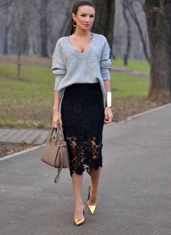 Кружевная юбка черная с чем носить фото
