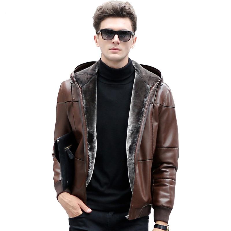 Мужские пуховые кожаные куртки