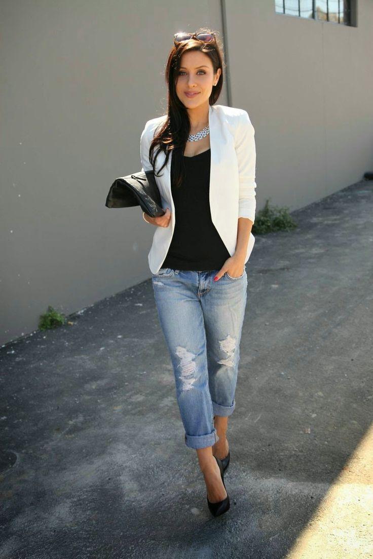Черный пиджак с джинсами девушке фото