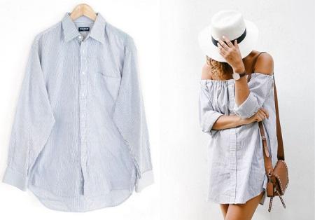 Переделать рубашку на платье
