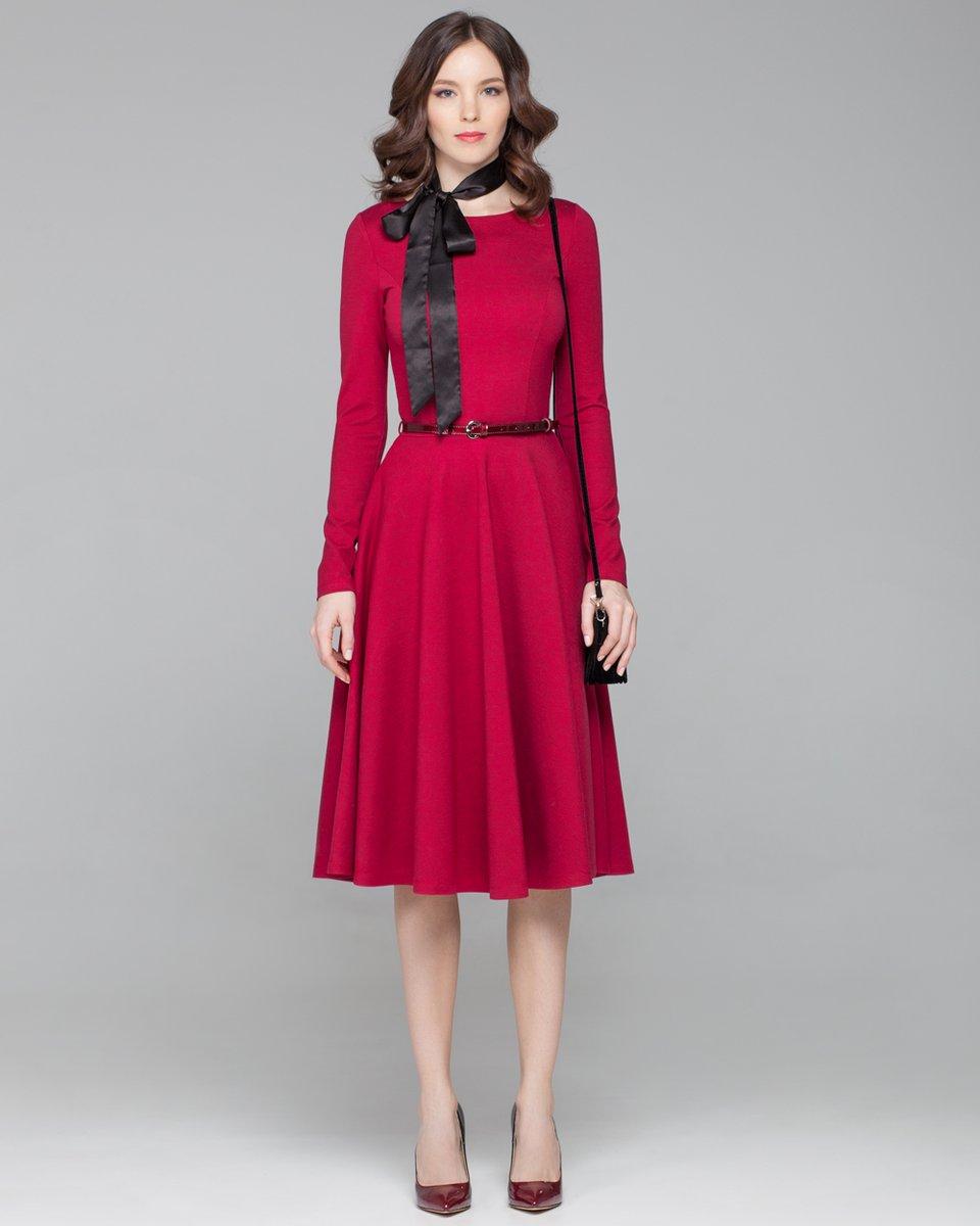 Выкройка отрезного по талии платья с юбкой полусолнце с рукавами