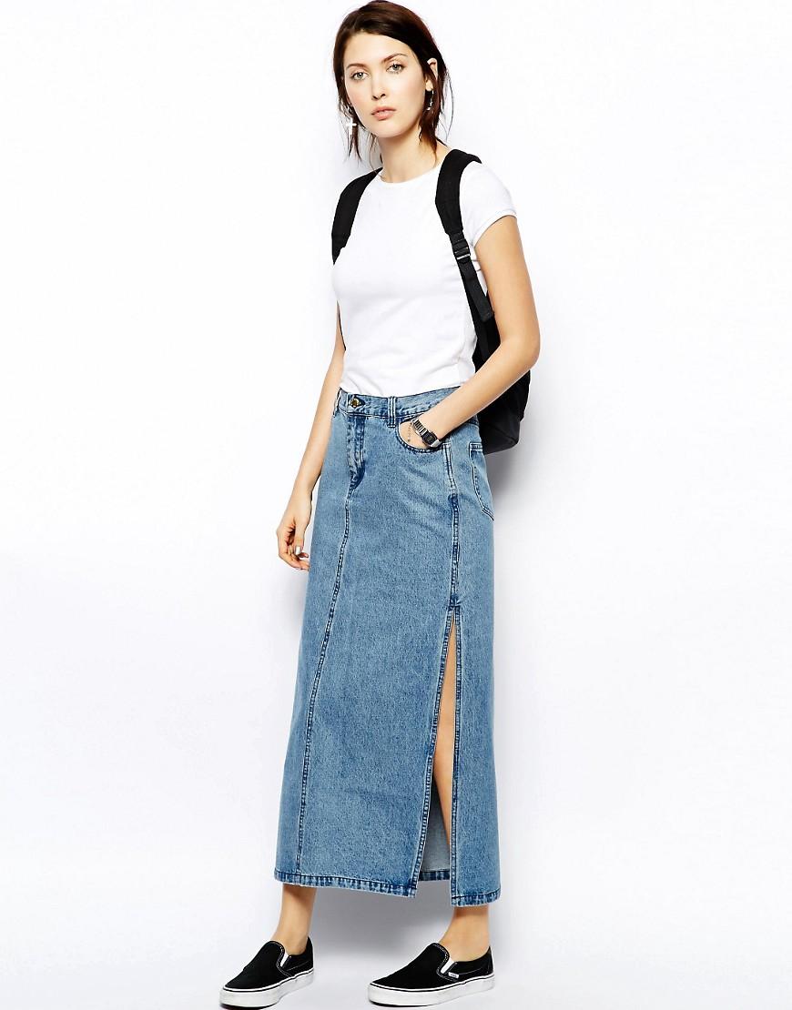 С чем одевать длинную джинсовую юбку