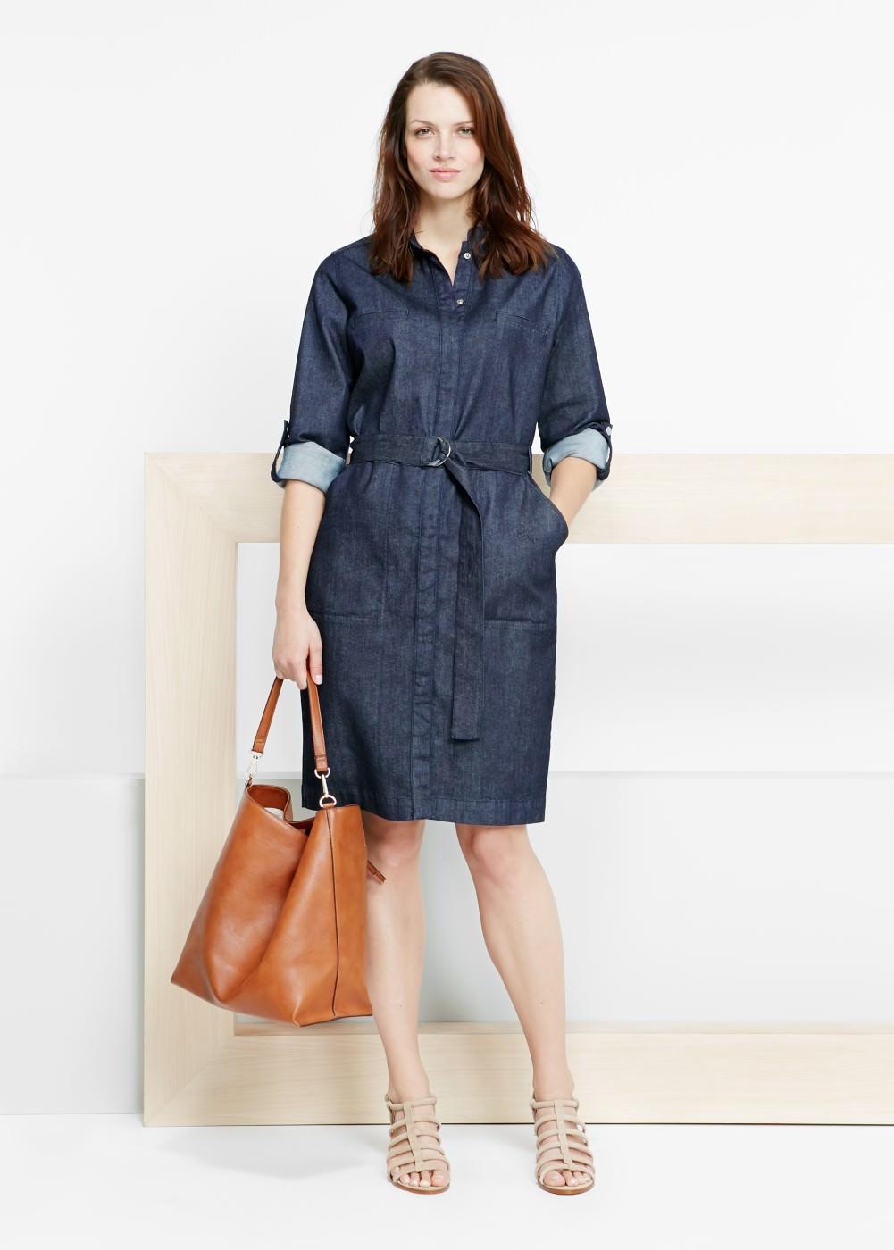 b7638016483 Джинсовое платье-рубашка (50 фото) 2019 года  с чем и как носить ...