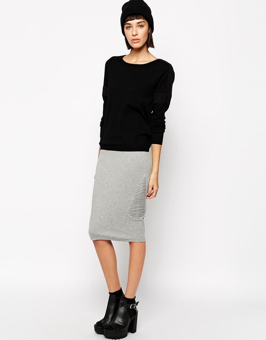 Купить трикотажную юбку карандаш миди