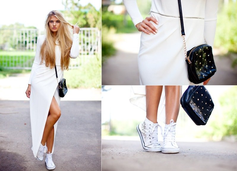 Мода кроссовки под платье