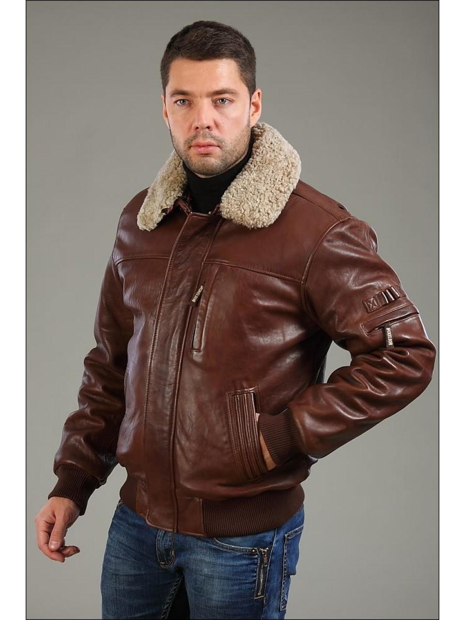 161b65ff Зимние мужские кожаные куртки: пилот, на меху, с капюшоном