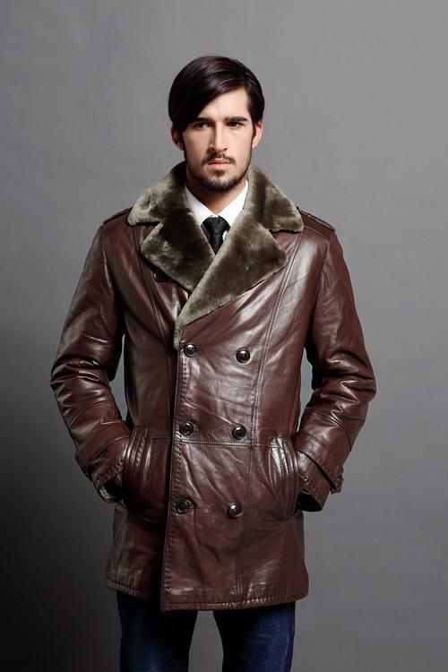 Зимние мужские кожаные куртки  пилот, на меху, с капюшоном 9ef2216863e