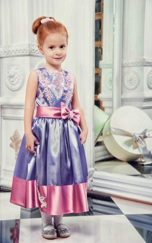 Детские платья из атласа с гипюром