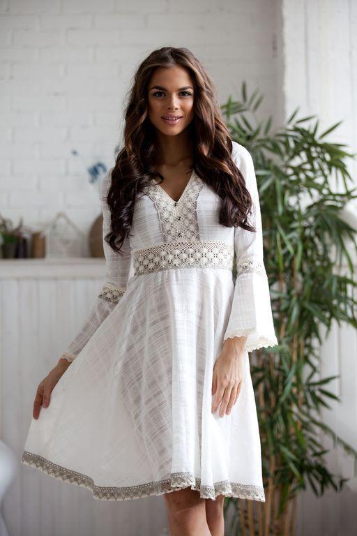 7fe058dac4367c6 Белые платья из хлопка с кружевом (41 фото): стильные, для ...