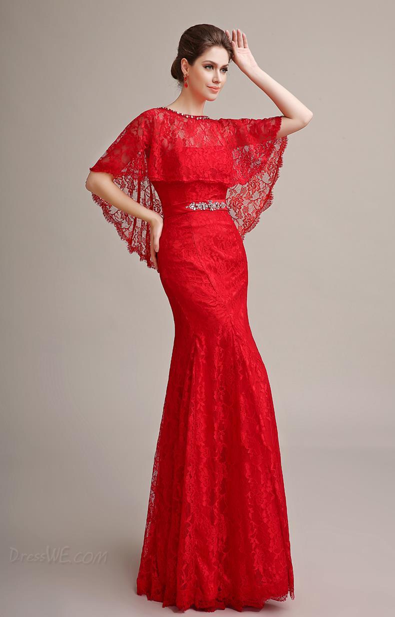 Красное платье рукава гипюр