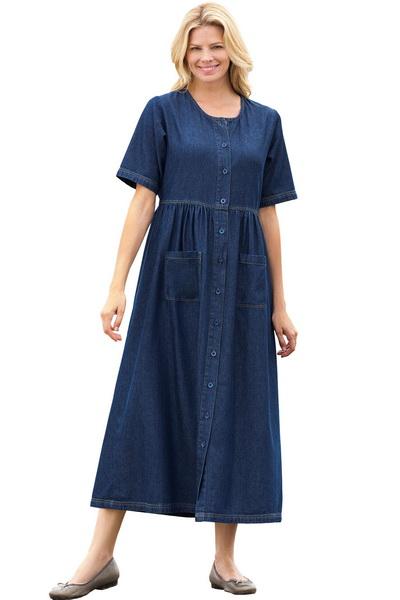 Фасон джинсового платья для полных фото