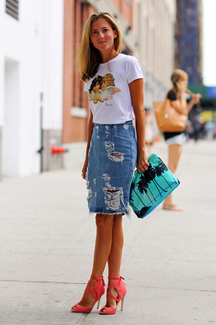 Джинсовая юбка модный образ