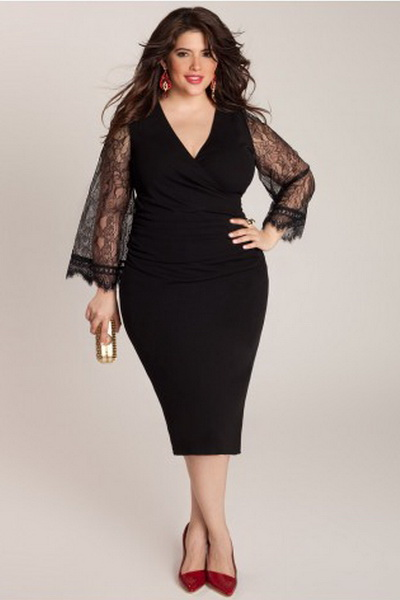 Платье черное вечернее на полных