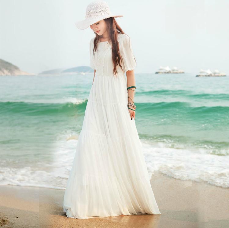 Белые летние длинные платья