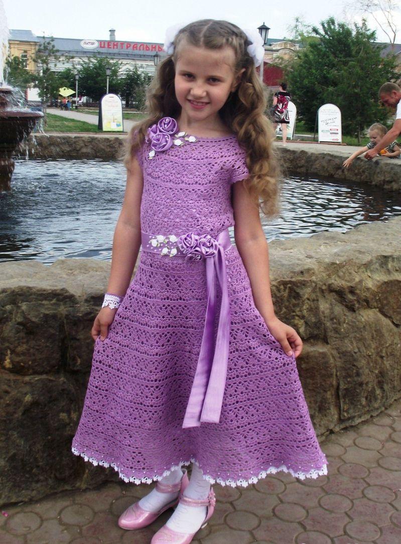 Вязание крючком платья на выпускной в детском саду 34