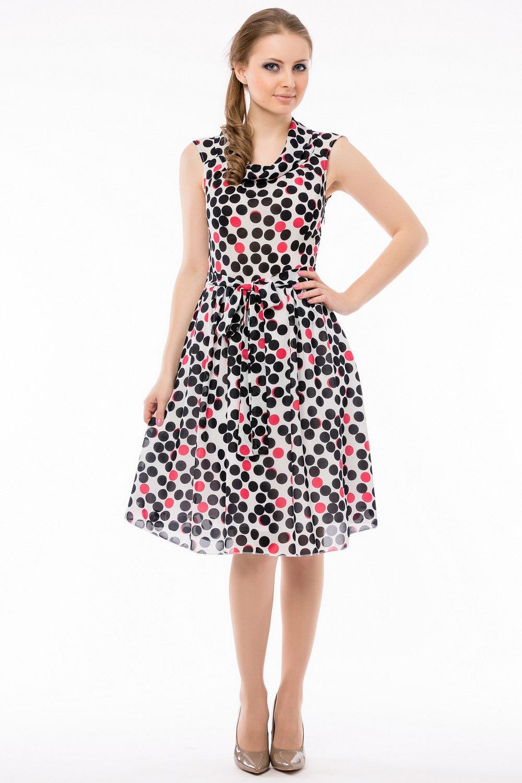Модели платьев в горошек из шифона фото