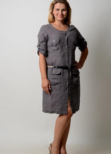 Платья из льна фасоны для полных фото