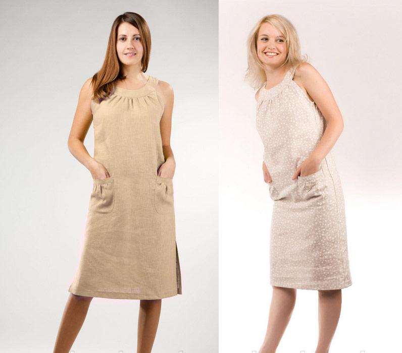 Летние платья из льна для полных фото