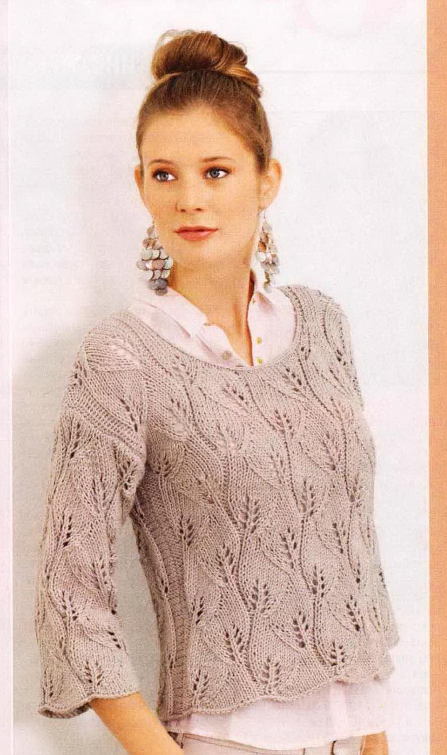 Вязание спицами свитера с узорами из листьев