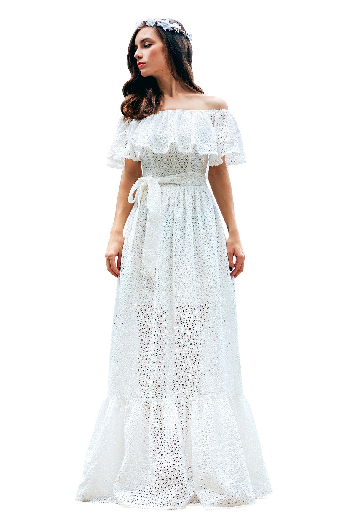 Платье хлопок с кружевами белое