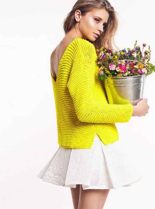 с чем носить желтый свитер 29 фото сине желтый в розовую полосочку