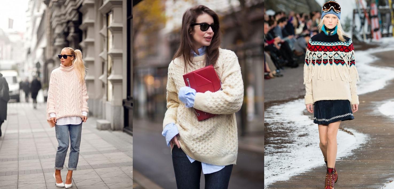 Вязанные свитеры с чем носить