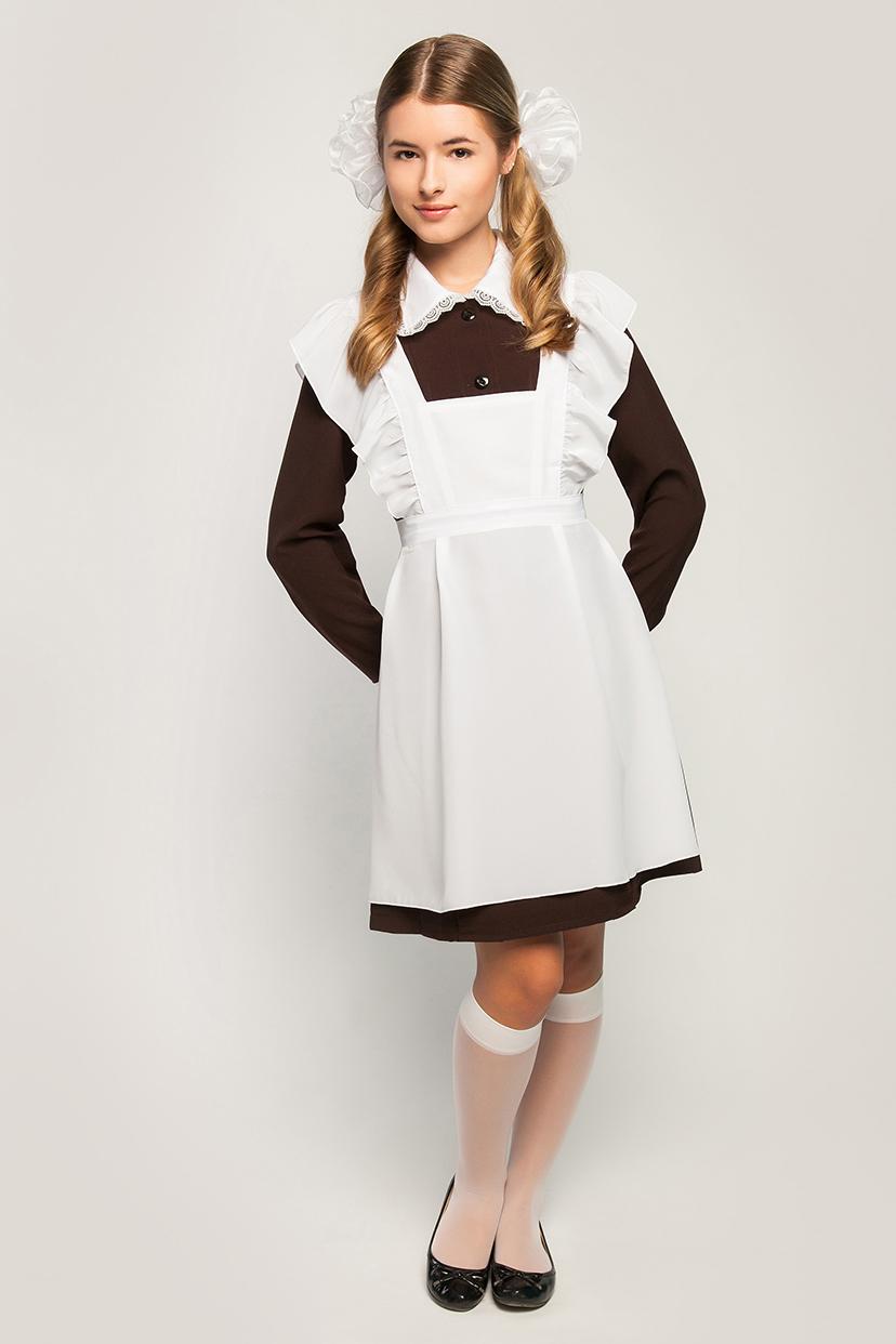Школьные платья с фартуком черным