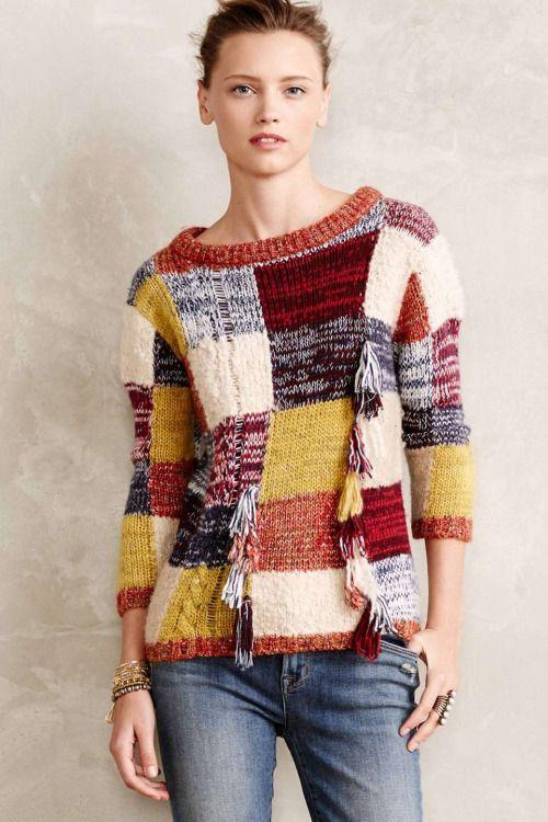 Пэчворк свитер женский