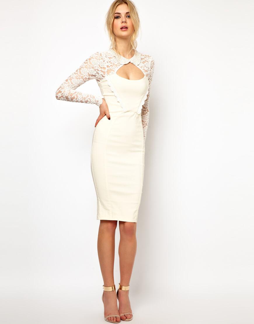 Белое длинное платье футляр