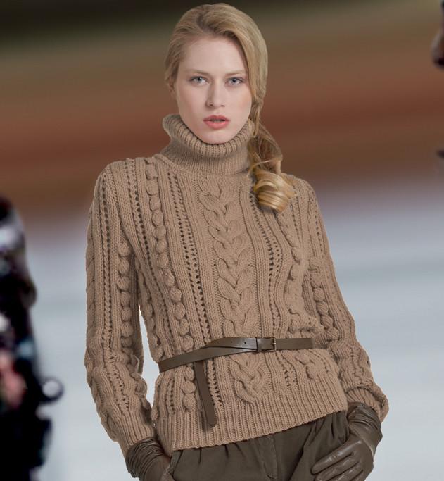вязание спицами свитера с косичками
