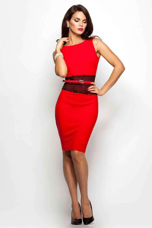 Фото красное платье с черным поясом