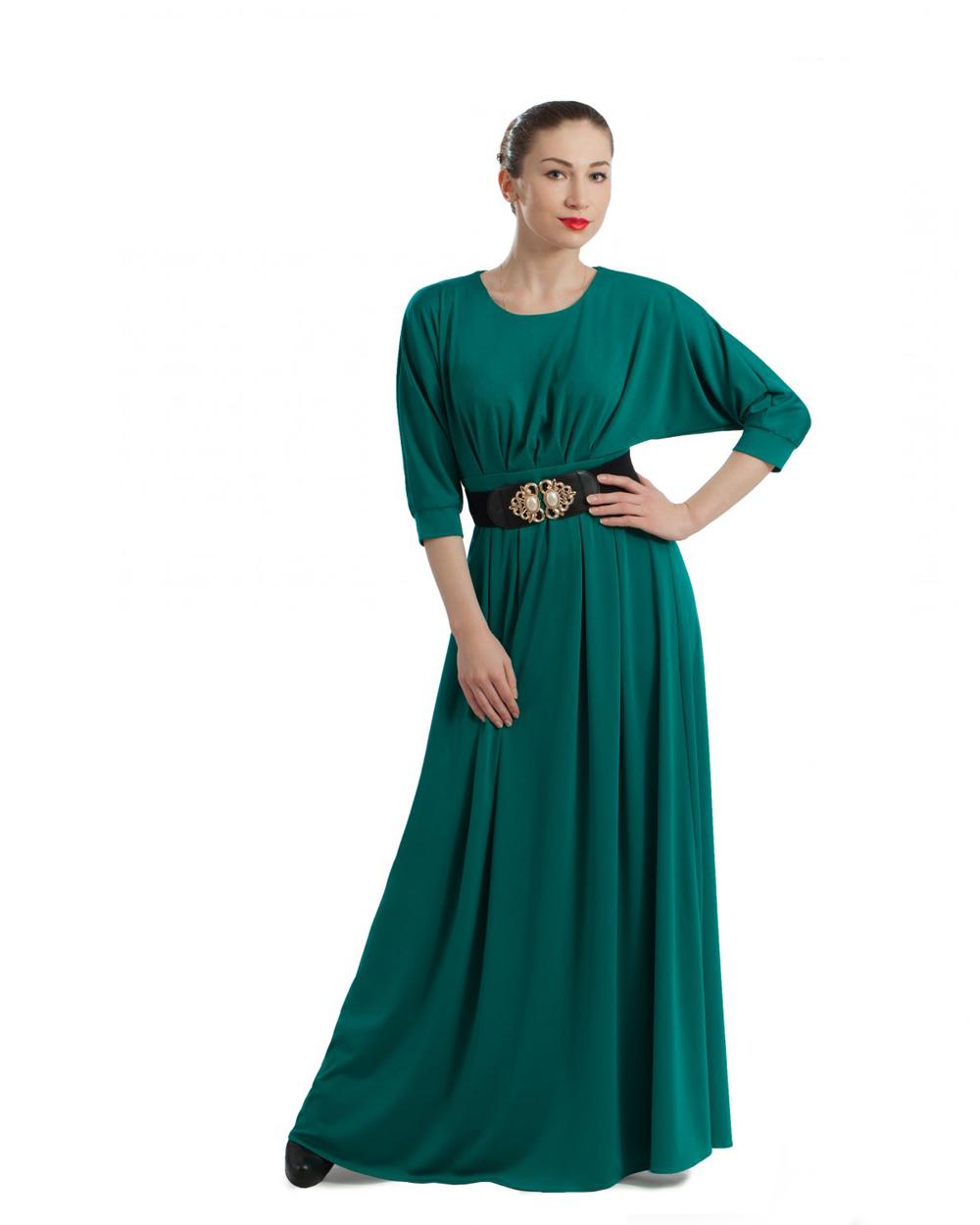 Платье зелёного цвета в пол