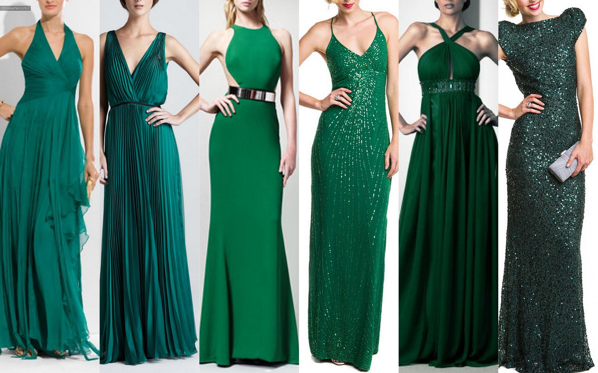 Вечерние платья темно зеленого цвета
