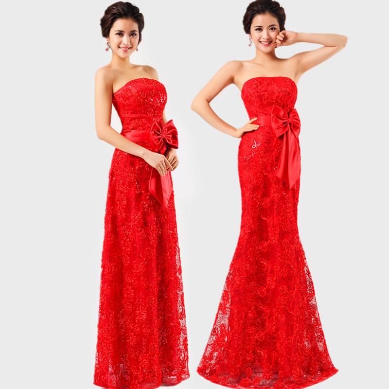 Красное платье в пол кружевное