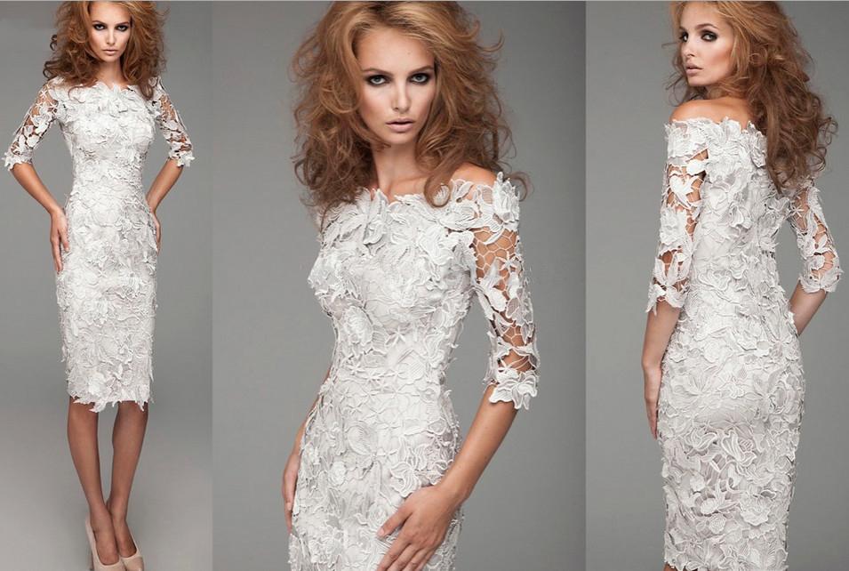 Вечернее платье из гипюра и кружева фото