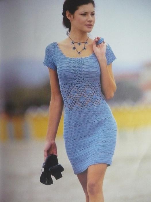 Летнее платье для девочки крючком - схема