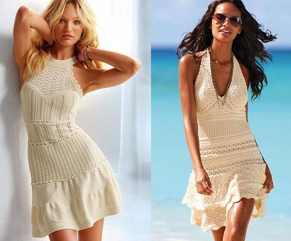 Модные летние вязаные платья схемы