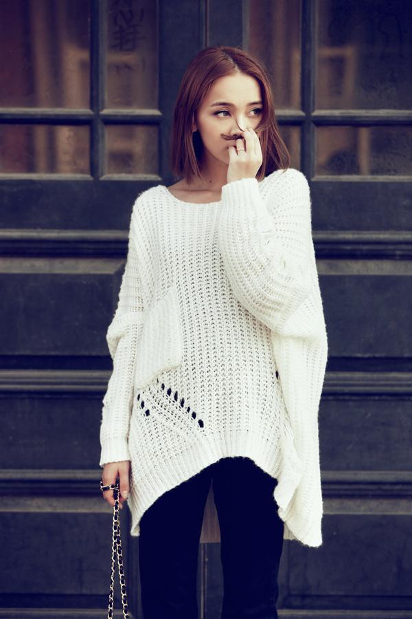 белые вязанные свитера женские спицами