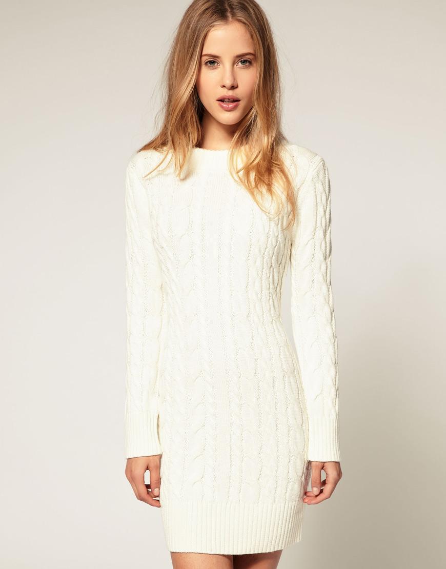 Белое платье теплое