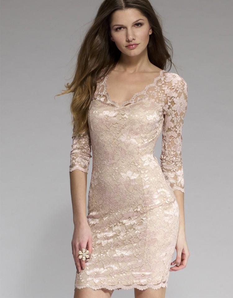 Купить Бежевое Платье Кружевное