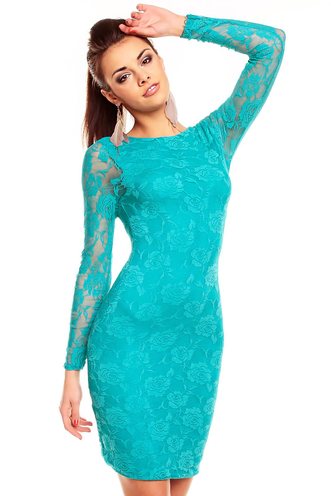 Вечерние платье бирюзового цвета